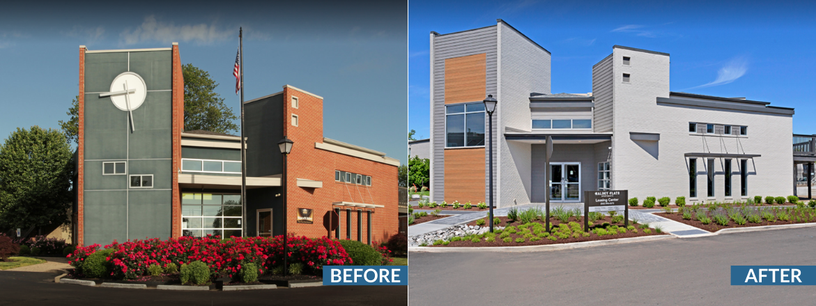 Halsey Flats Clubhouse Exterior Before and After Website Slider
