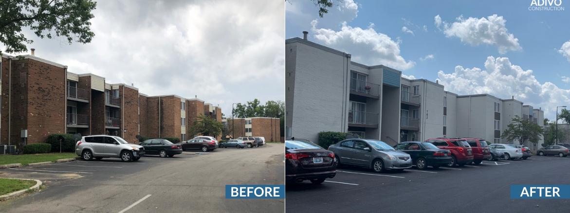 Halsey Flats Exterior Before and After Website Slider