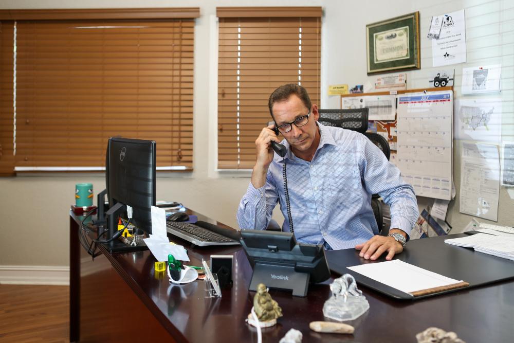 JR at his desk