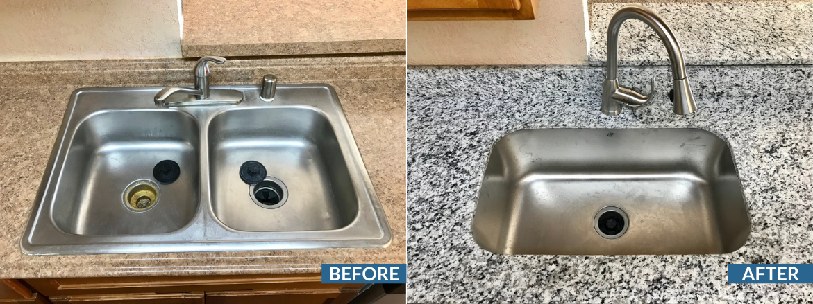 Vista Ventana Kitchen Sink Before and After