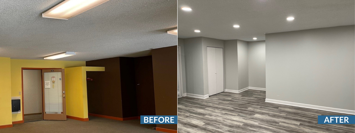 Whispering Oaks Leasing Office Before and After New Closet